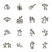 Dancing Signs Black Thin Line Icon Set Include of Couple, Guitar, Singer and Pointes. Vector illustration of Icons