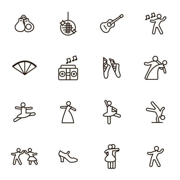 illustrations, cliparts, dessins animés et icônes de danse de signes noirs thin line icon set. vector - danser