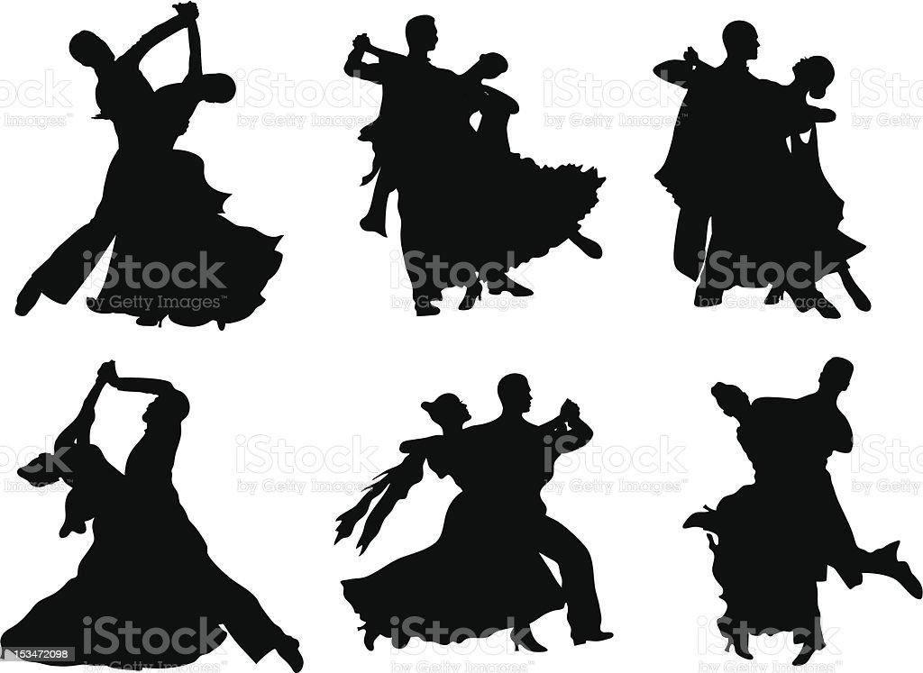 Dancing silhouettes. vector art illustration