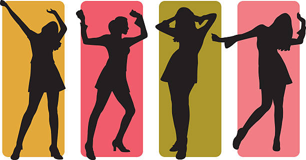 dancing silhouettes - prom fashion stock illustrations, clip art, cartoons, & icons