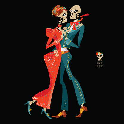 Dancing skeletons. Dia de Muertos. Mexican tradition.