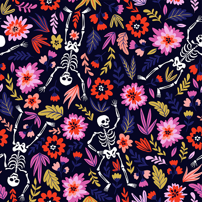 Dancing skeletons in the floral garden. Vector holiday illustration for Day of the dead or Halloween. Funny fabric design.