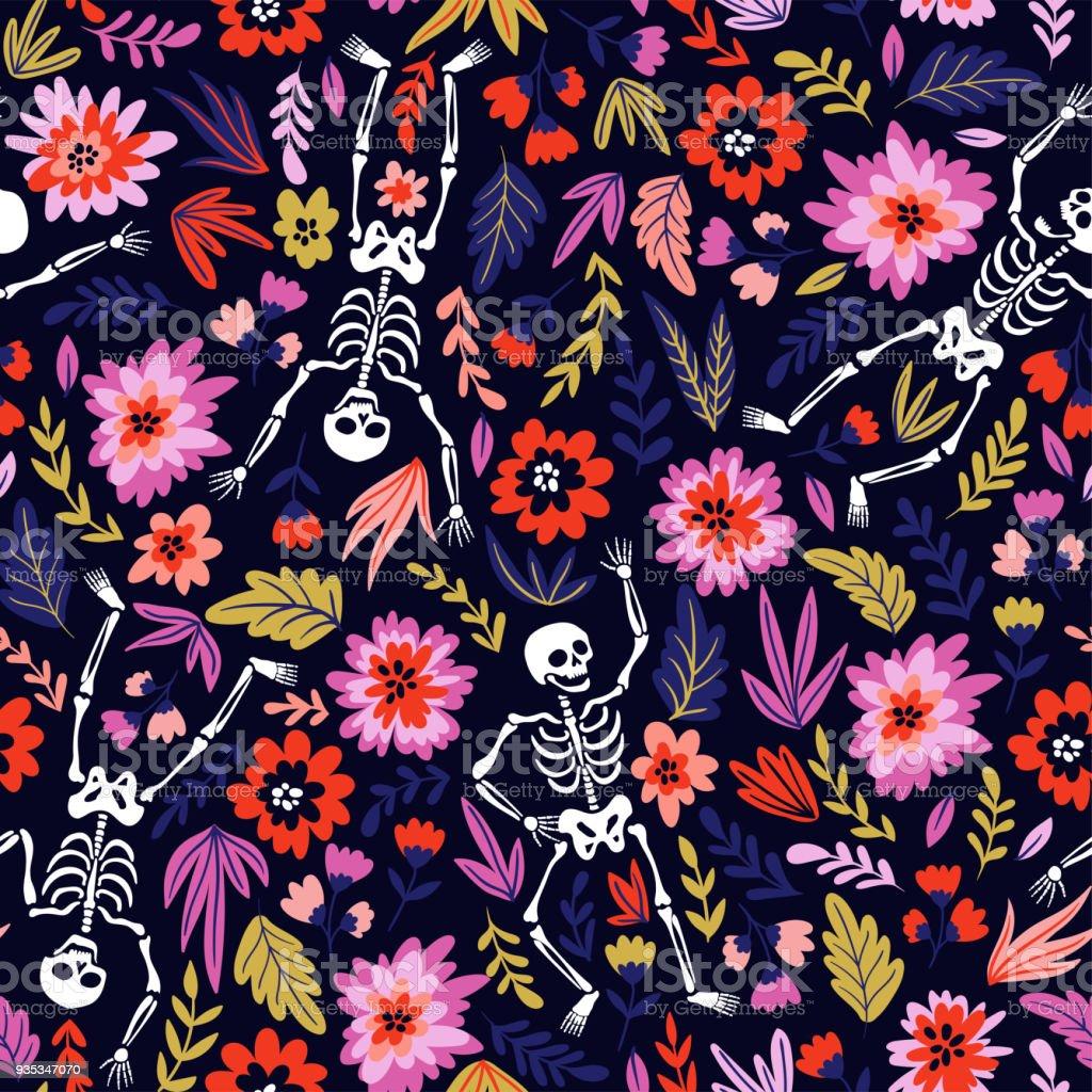 꽃 정원에서 해골을 춤. 죽음의 날 휴일 그림 벡터 또는 할로윈. 재미 있는 직물 디자인입니다. 벡터 아트 일러스트