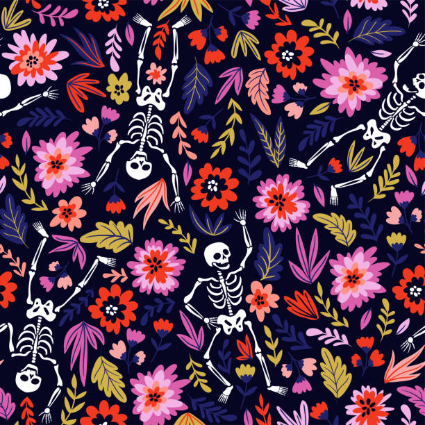 Dancing skeletons in the floral garden. Vector holiday illustration for Day of the dead or Halloween. Funny fabric design. Dancing skeletons in the floral garden. Vector holiday illustration for Day of the dead or Halloween. Funny fabric design. flowers tattoos stock illustrations
