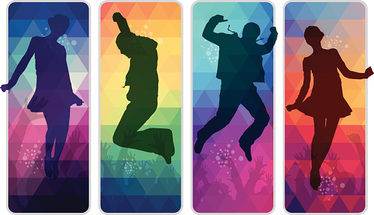 Dancing teenagers on colourful mosaic retro placards. Eps10. Contains blending mode objects.