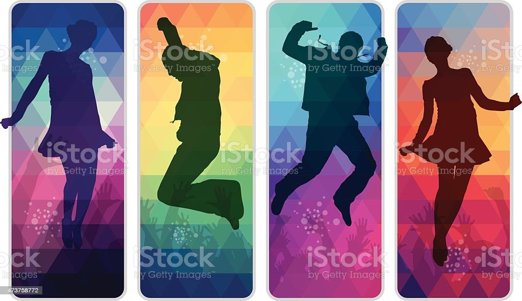 Dancing teenagers on colourful mosaic placards vector art illustration