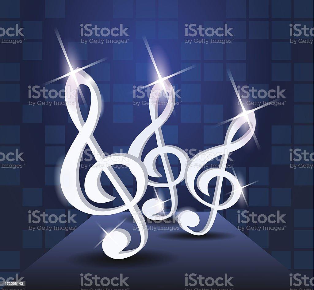 Dancing treble clef royalty-free stock vector art