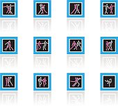 Dancing ,twelve different manners icon-set