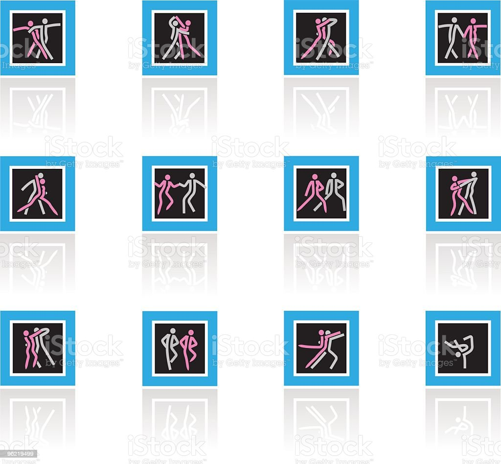 Dancing ,twelve different manners icon-set vector art illustration