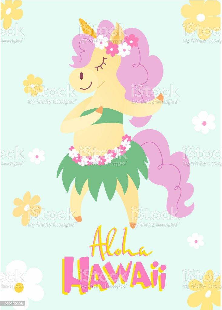 Ilustración de Bailando Unicornio En Unas Vacaciones De La Isla ...