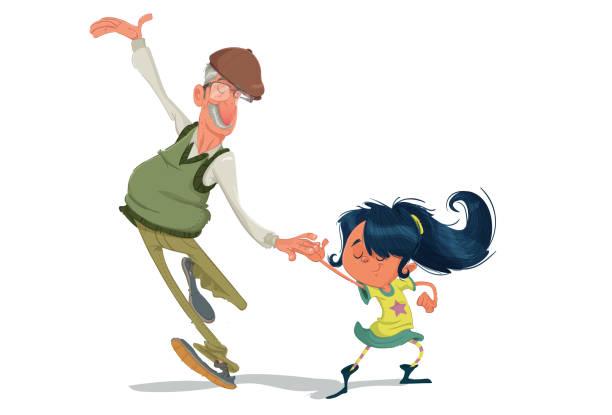 ilustraciones, imágenes clip art, dibujos animados e iconos de stock de bailando con el abuelo - nieta