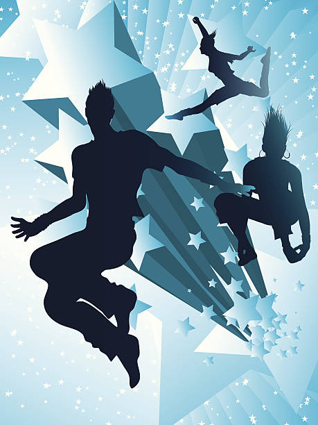 Dancing with the stars vector art illustration