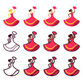 Dancing woman set in red dress with different skin tones. Flat color, cartoon outline and line icon style. Isolated vector illustration collection.