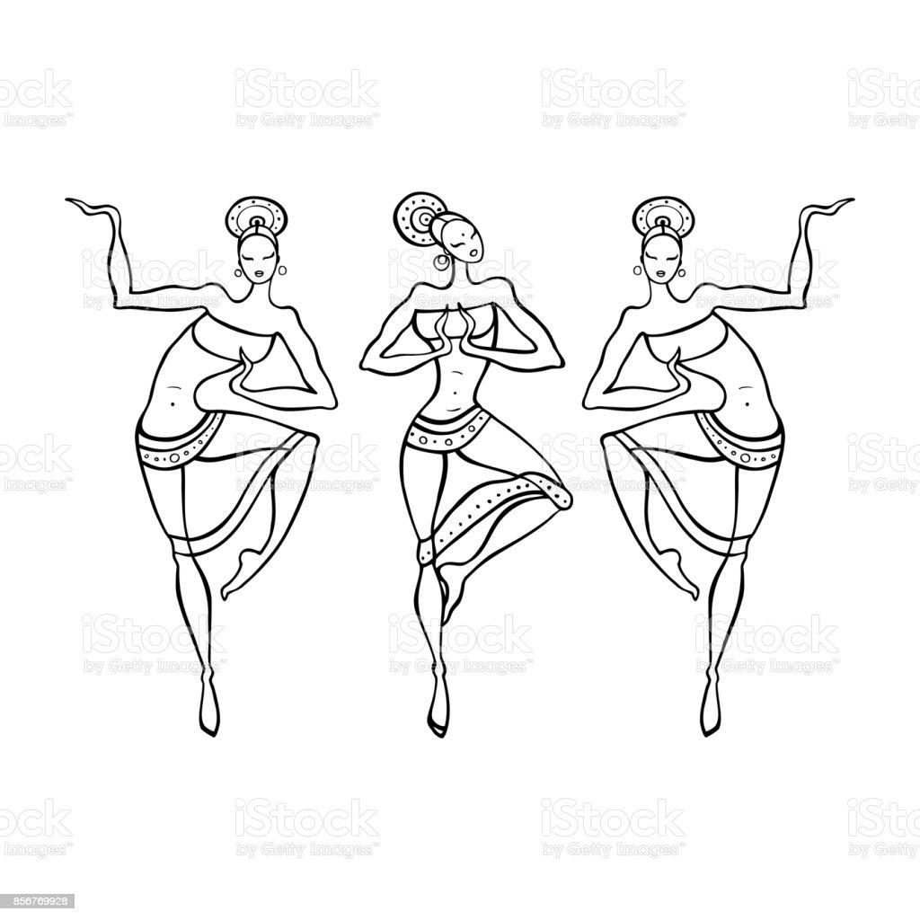 Coloriage Danseuse Indienne.Femme Danse Dans Le Style Ethnique Vecteurs Libres De Droits