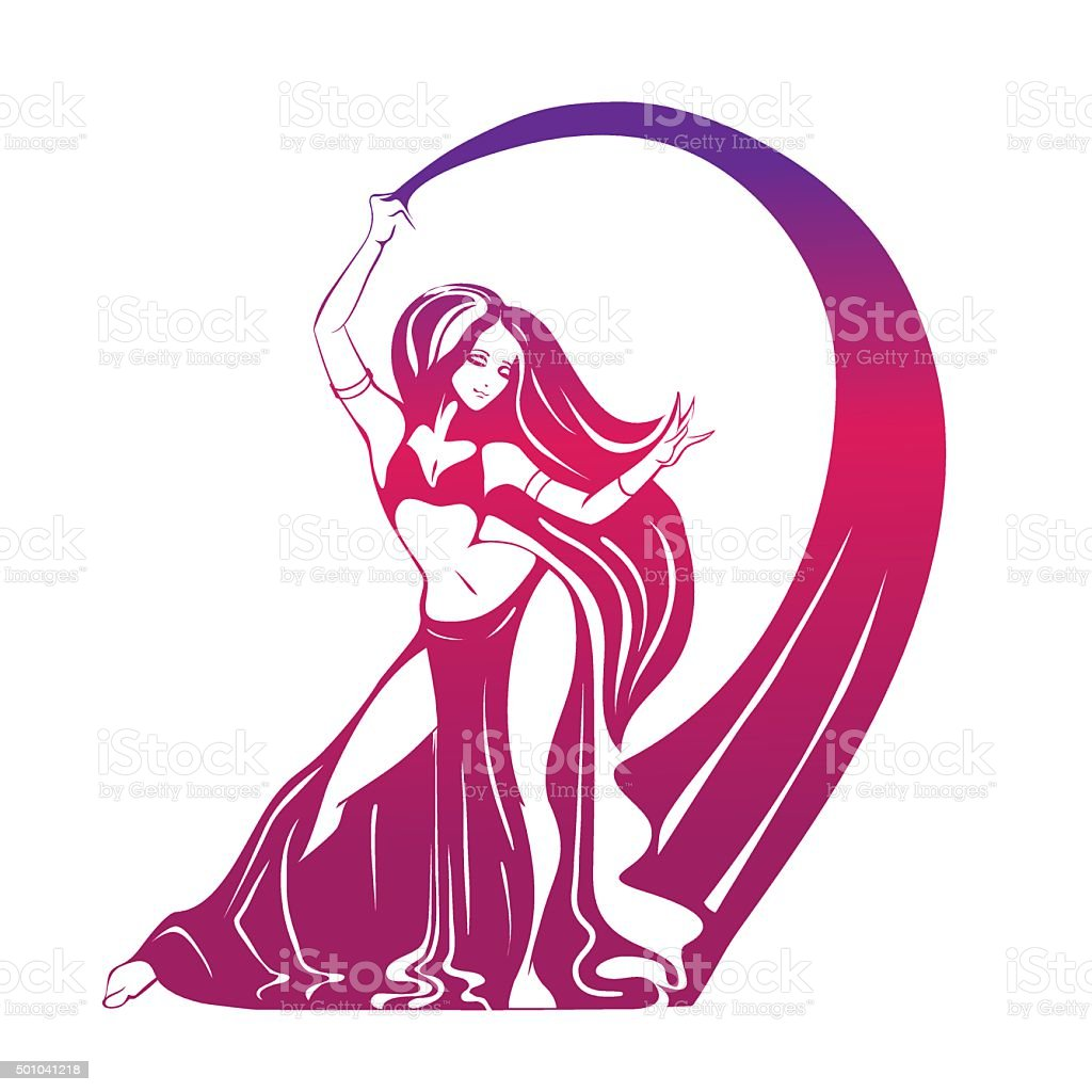 Dancing woman in expressive pose. flat silhouette vector art illustration