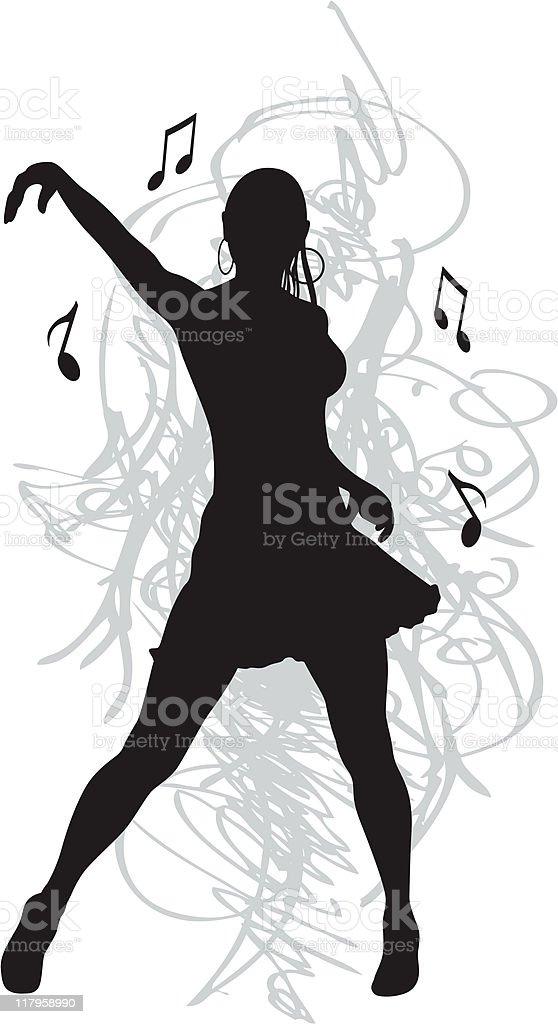 dancing woman vector art illustration