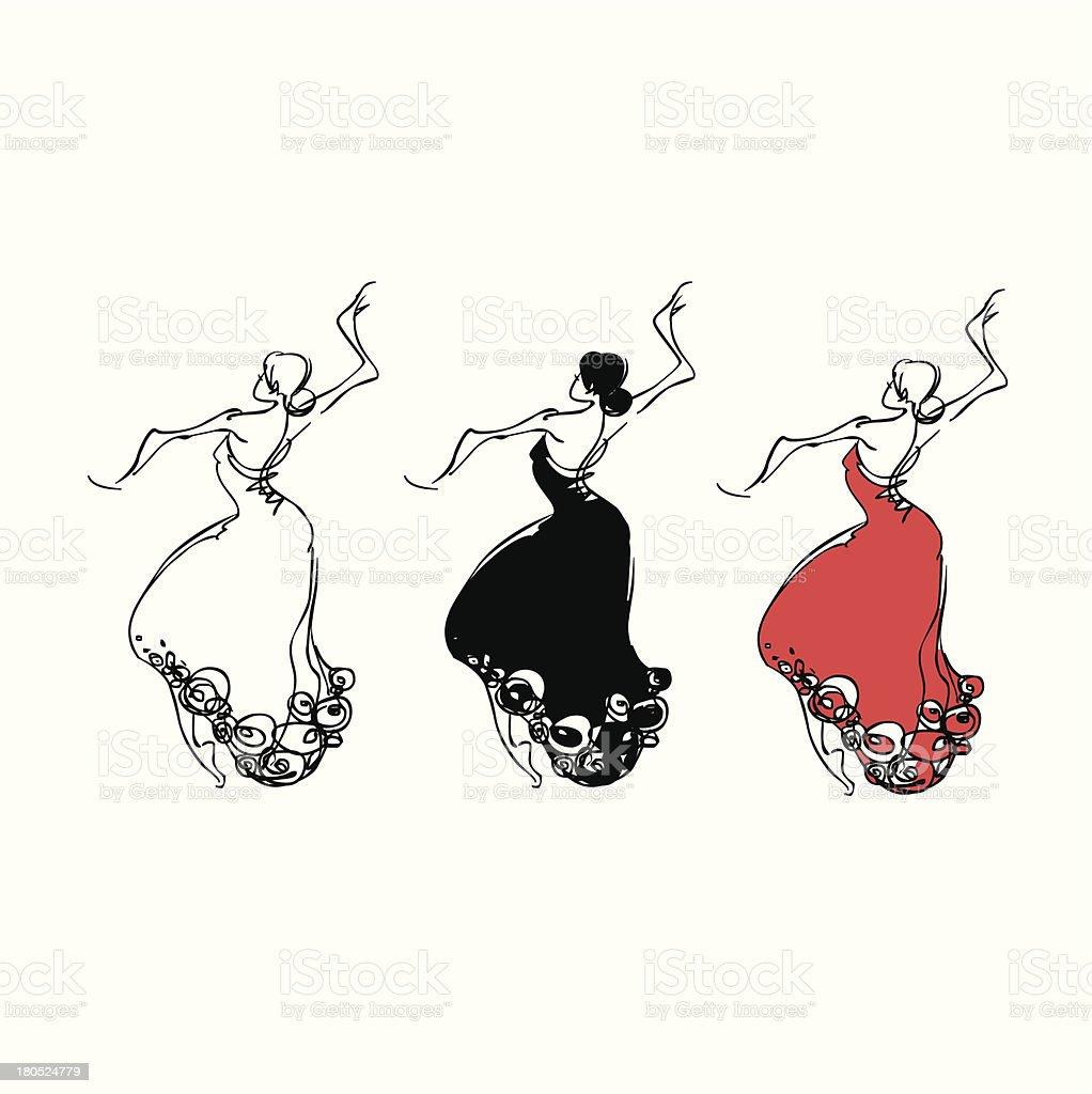 dancing mujer - ilustración de arte vectorial