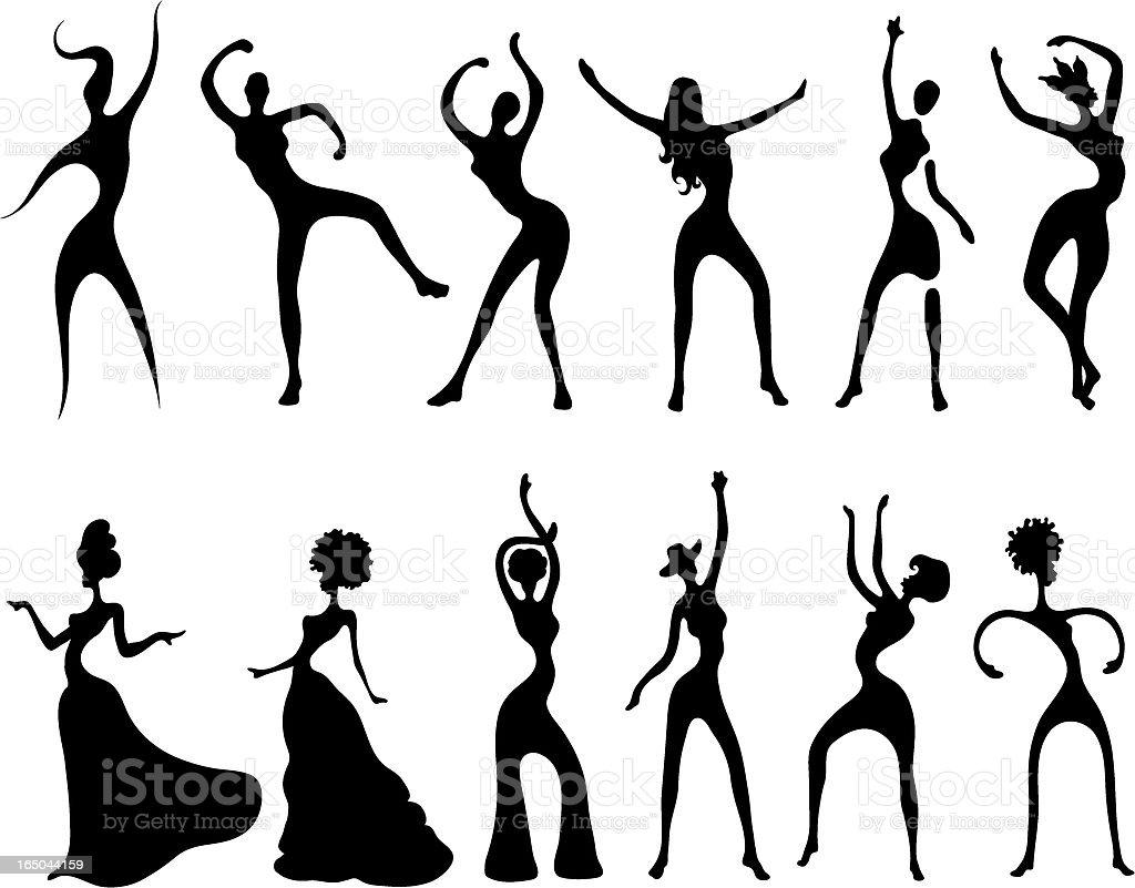 Dance Frauen Silhouetten – Vektorgrafik