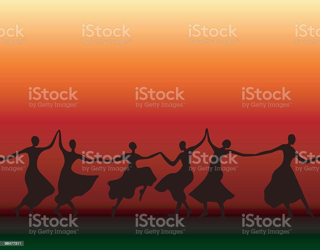 Dancing Women Silhouettes royalty-free stock vector art