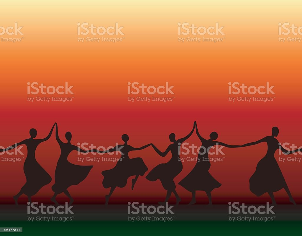Dancing Women Silhouettes vector art illustration