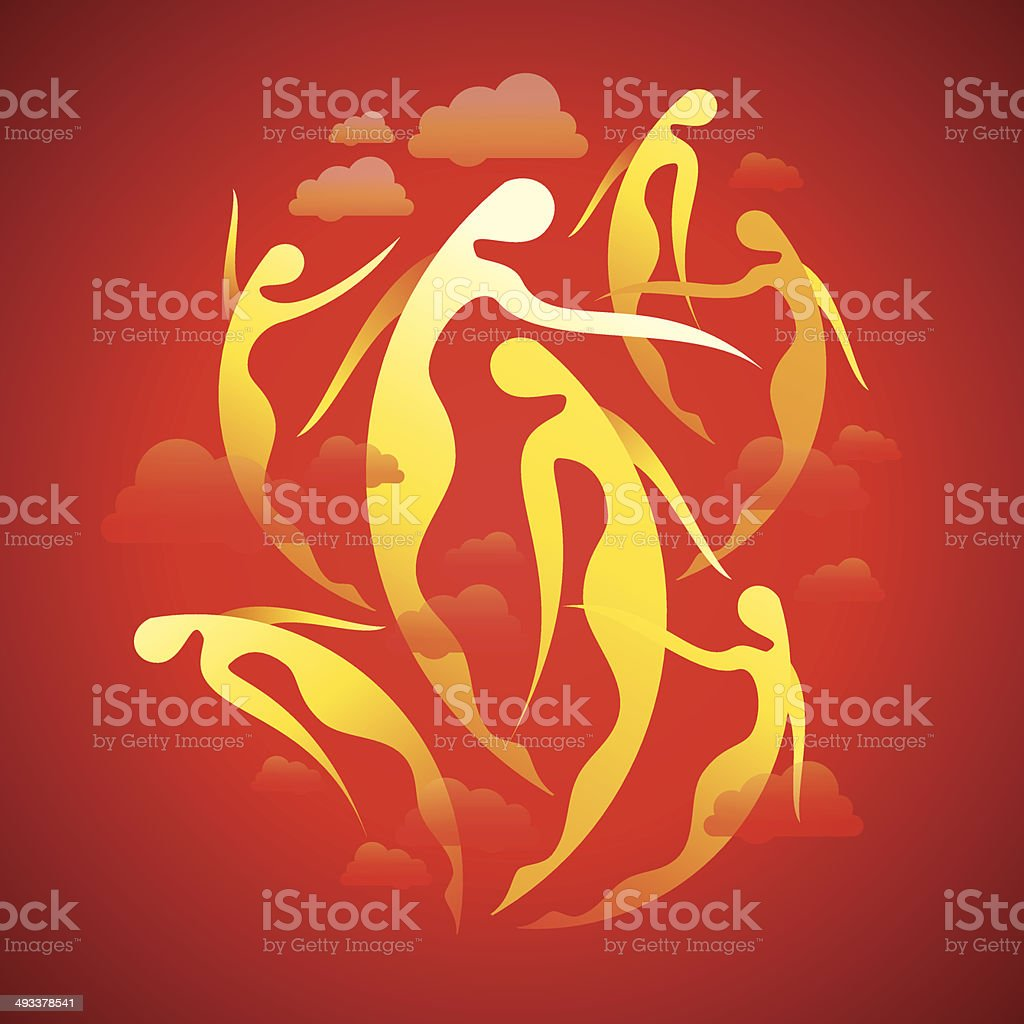 dancing yellow girl on red background vector art illustration