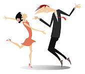 Romantic dancing young man and woman isolated on white illustration