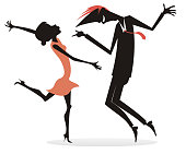 Dancing young couple silhouette illustration isolated