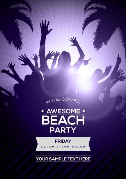 Danse jeunes Silhouettes sur Summer Beach Party Flyer modèle - Vector Design - Illustration vectorielle