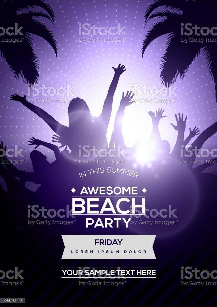 Tanzende Jugendliche Silhouetten Auf Sommer Strand Party Flyer ...