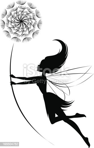 A fairy flying with a dandelion in her hands. The dandelion can be deleted if only the fairy is desired.