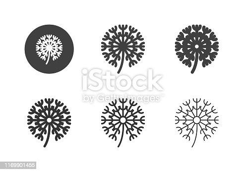 Dandelion Flower Icons Multi Series Vector EPS File.