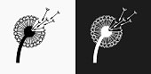 Dandelion Icon on Black and White Vector Backgrounds. This vector illustration includes two variations of the icon one in black on a light background on the left and another version in white on a dark background positioned on the right. The vector icon is simple yet elegant and can be used in a variety of ways including website or mobile application icon. This royalty free image is 100% vector based and all design elements can be scaled to any size.
