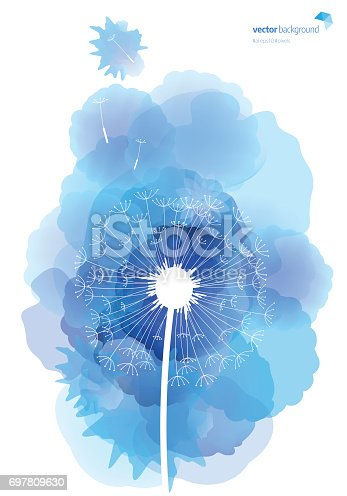 istock Dandelion pattern with watercolor textured background 697809630