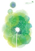 Vector of green color watercolor background texture with white dandelion pattern silhouettes. EPS Ai 10 file format.