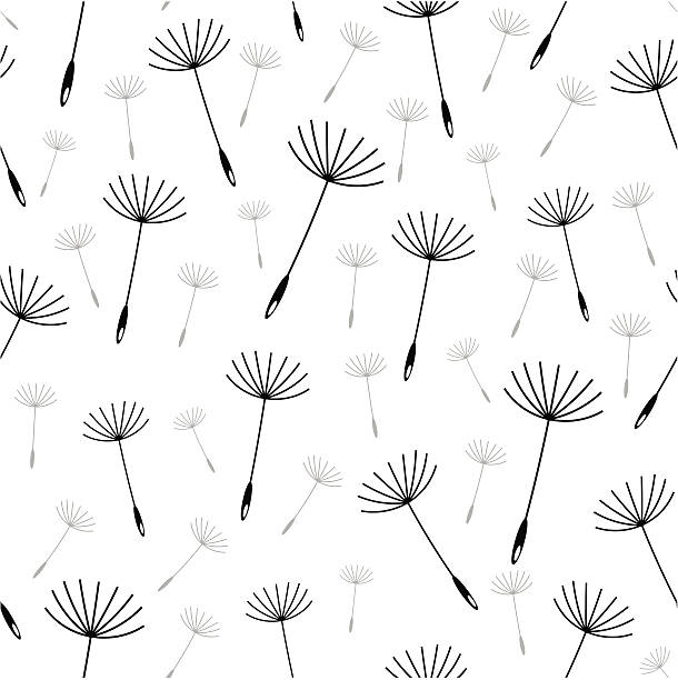Dandelion seed seamless vector wallpaper vector art illustration