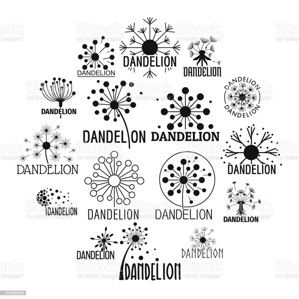 Dandelion Symbol Icons Set Simple Style Stock Illustration