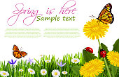 Vector illustration of Beautiful Spring Background, all elements are in separate layers and grouped.