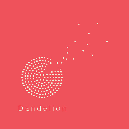 Dandelion vector logo design template