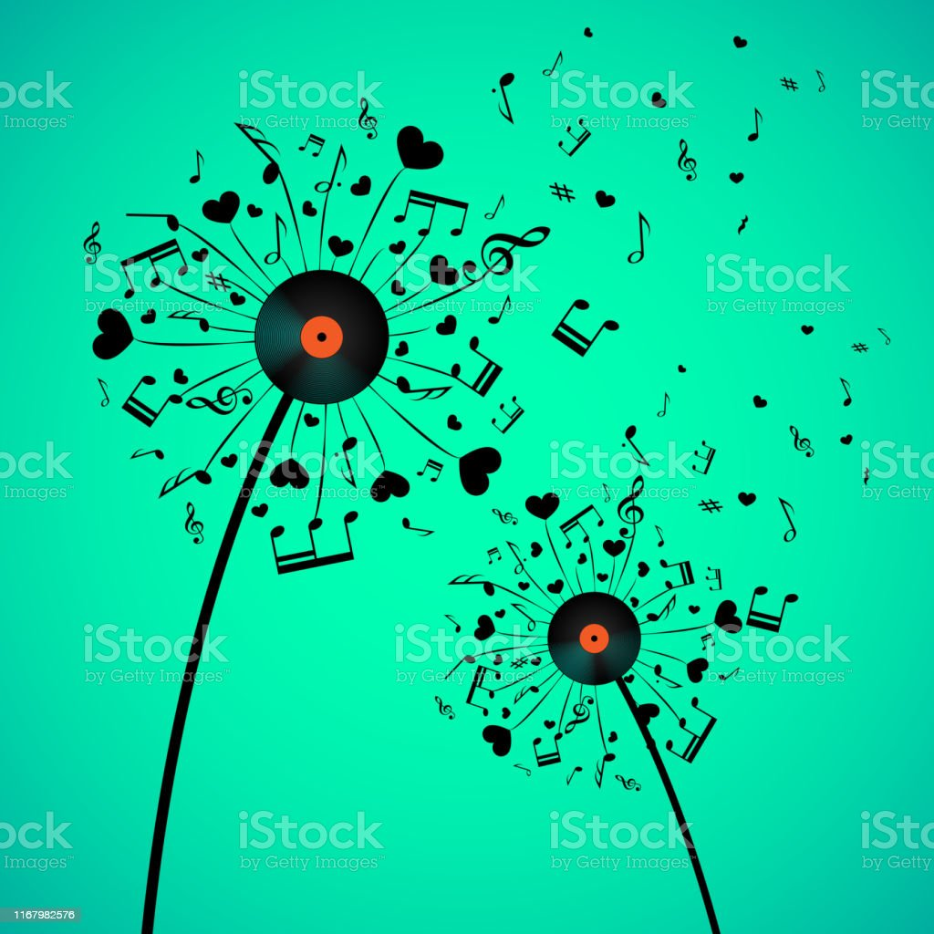 Dandelion with hearts and notes - Royalty-free Abstract stock vector