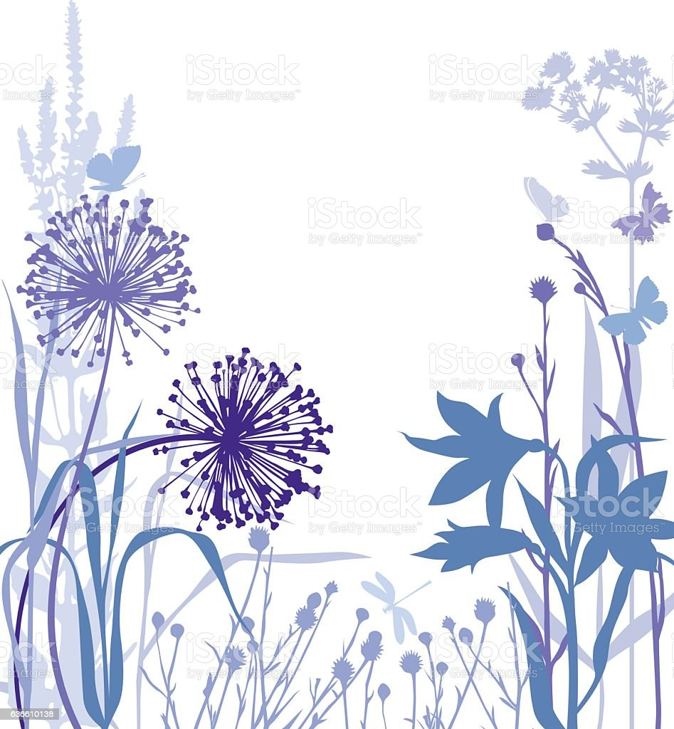 Dandelions and lily vector art illustration