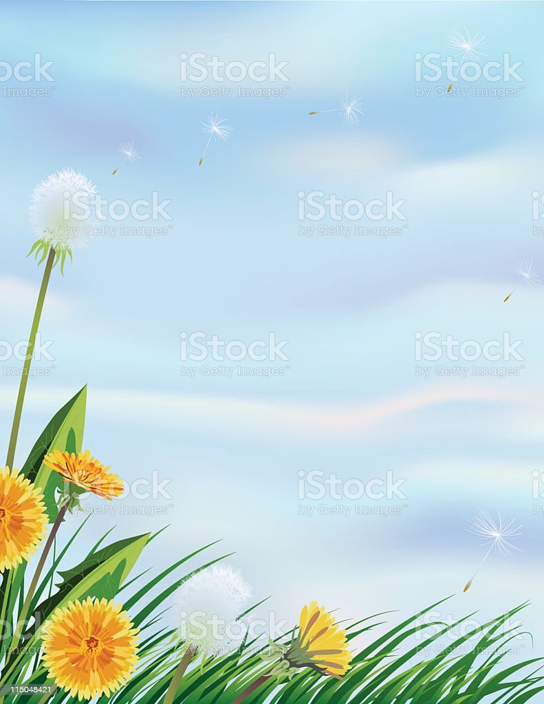 Dandelions on a Blue Sky royalty-free stock vector art
