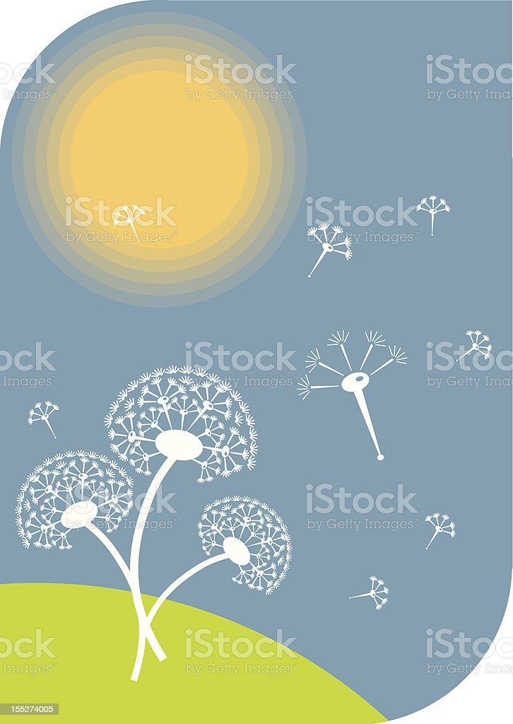 dandelions on a sunny day royalty-free stock vector art