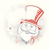 Dandy Santa Claus with Martini and a gift. Vector.