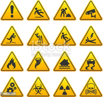 Danger and Caution Street Signs Collection. The royalty free vector graphic features Under Construction, caution, warning, wet floor, slippery, high voltage, flood warning signs with multiple design and layout variations. The signs are in yellow and the actual under construction text is in black. Image download includes vector graphic and jpg file.