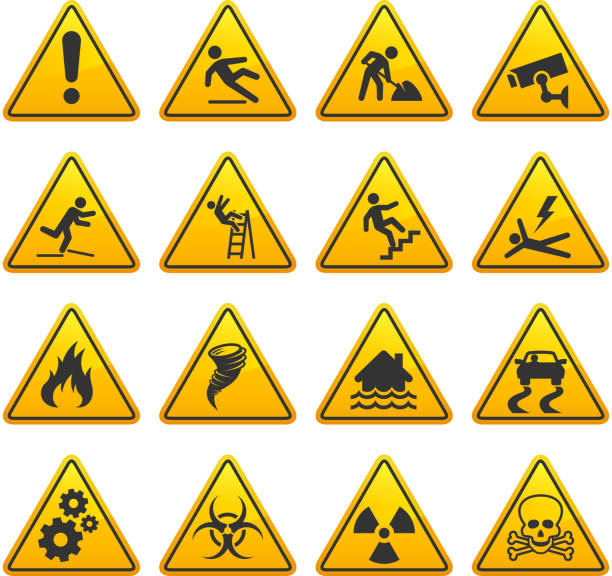 Danger and Caution Street Signs Collection Danger and Caution Street Signs Collection. The royalty free vector graphic features Under Construction, caution, warning, wet floor, slippery, high voltage, flood warning signs with multiple design and layout variations. The signs are in yellow and the actual under construction text is in black. Image download includes vector graphic and jpg file. slippery stock illustrations