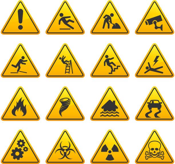 опасность и осторожно улица знаки collection - lightning stock illustrations