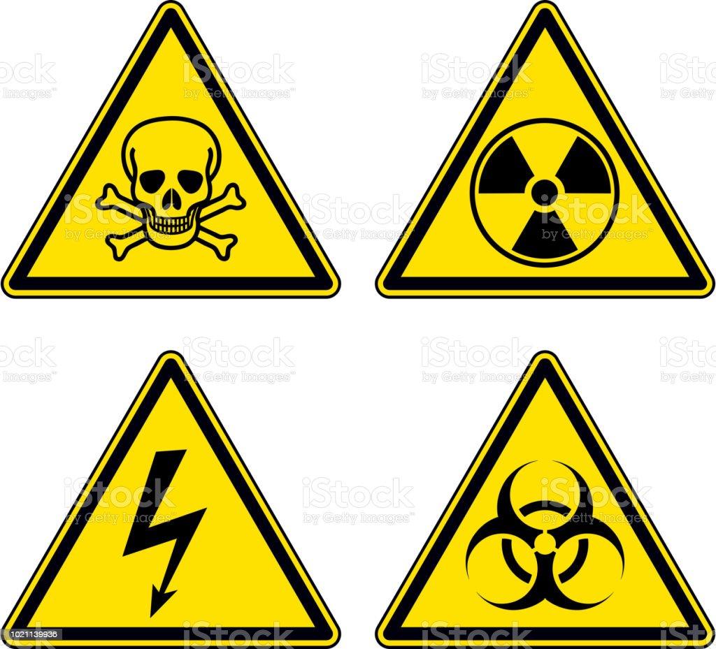 4cc644f64a008 Peligro y el conjunto de señales de advertencia ilustración de peligro y el  conjunto de señales