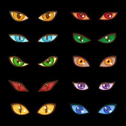 Danger animal monster evil glow eyes expressions on dark black background vector illustration
