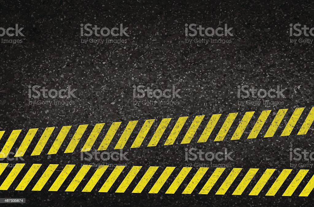 Danger arrows on asphalt texture. illustration vector vector art illustration