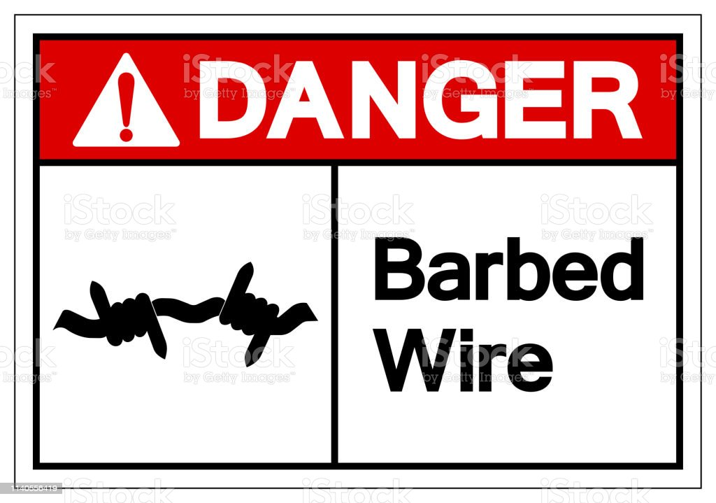 Danger Barbed Wire Symbol Sign Vector Illustration Isolated